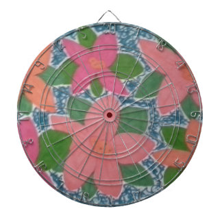 Pretty Tropical Flowers Hand-painted Pattern Dartboard