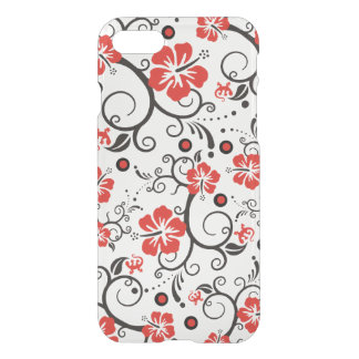 Pretty Tropical Hibiscus Decor black red white iPhone 7 Case