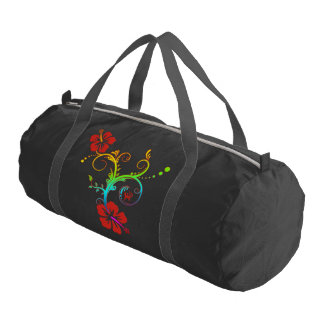 Pretty Tropical Hibiscus Decor colored Gym Duffel Bag