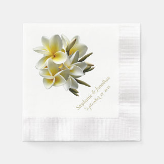Pretty Tropical Plumeria Wedding Reception Napkins Disposable Serviettes