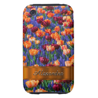 Pretty tulip flower field personalized tough iPhone 3 cover