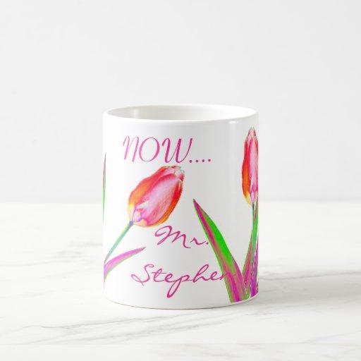 Pretty Tulips Wedding Mug for Newly Wed Couples Coffee Mug