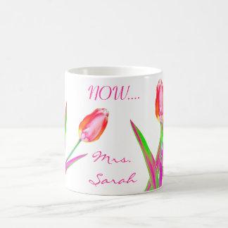 Pretty Tulips Wedding Mug for Newly Weds