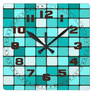 Pretty Turquoise Aqua Teal Mosaic Tile Pattern Square Wall Clock