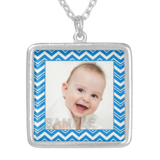 Pretty Turquoise Blue and White Zigzags Photo Personalized Necklace