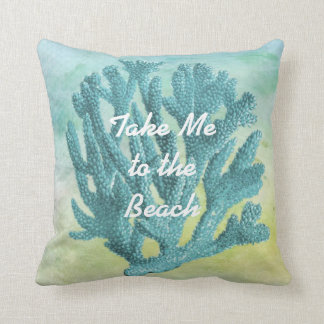Pretty Turquoise Blue Coral Watercolor Beach Theme Throw Pillow