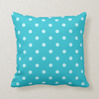Pretty Turquoise Blue Polka Dots Pattern Cushion