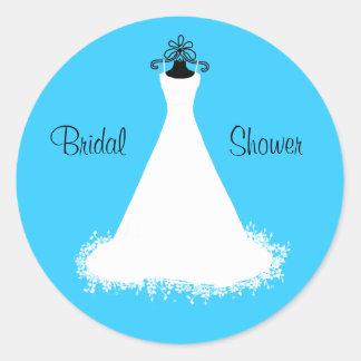 Pretty Turquoise Bridal Shower Envelope Seal Round Sticker