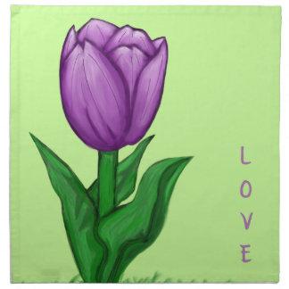 Pretty Ultra Violet Tulip Cloth Napkins Set of 4