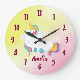 Pretty Unicorn Clock featuring your name