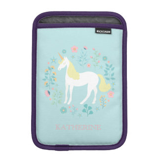 Pretty Unicorn & Flowers Aqua Personalized iPad Mini Sleeve