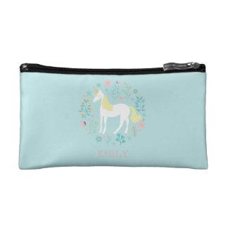 Pretty Unicorn & Flowers Aqua Personalized Makeup Bag
