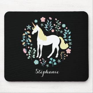 Pretty Unicorn & Flowers Black Personalized Mouse Pad