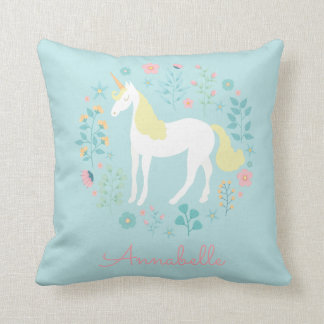 Pretty Unicorn & Flowers Personalized Aqua Cushion