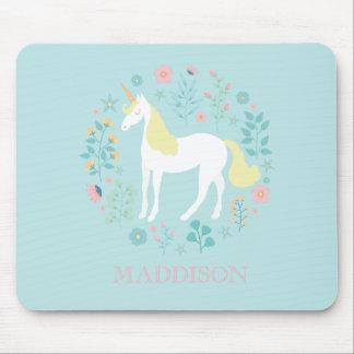 Pretty Unicorn & Flowers Personalized Mouse Pad