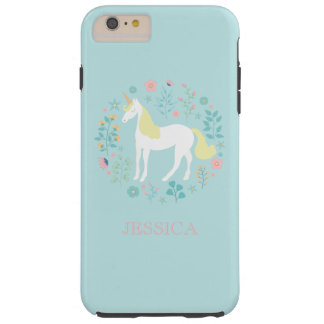 Pretty Unicorn & Flowers Personalized Tough iPhone 6 Plus Case