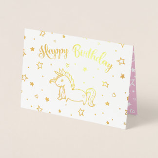 Pretty Unicorn Gold & Pink Happy Birthday Foil Card