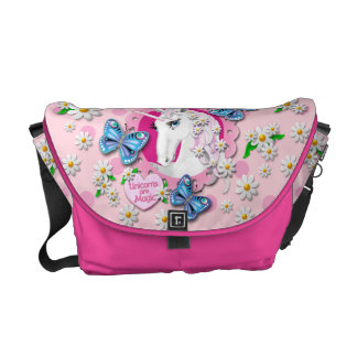 Pretty Unicorn in Pink with Polka Dots Commuter Bag