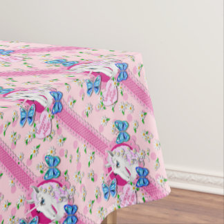 Pretty Unicorn in Pink with Polka Dots Tablecloth