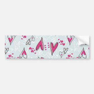 Pretty Valentine's Day Love Hearts Blue and Pink Bumper Sticker