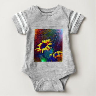 Pretty Vibrant Artistic Sunflowers Baby Bodysuit