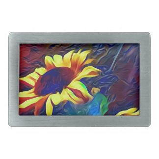 Pretty Vibrant Artistic Sunflowers Belt Buckles