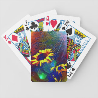 Pretty Vibrant Artistic Sunflowers Bicycle Playing Cards