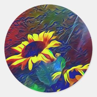 Pretty Vibrant Artistic Sunflowers Classic Round Sticker