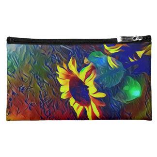 Pretty Vibrant Artistic Sunflowers Cosmetic Bag