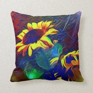 Pretty Vibrant Artistic Sunflowers Cushion