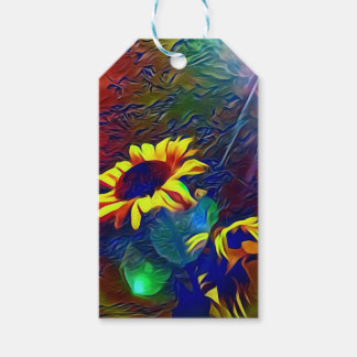 Pretty Vibrant Artistic Sunflowers Gift Tags