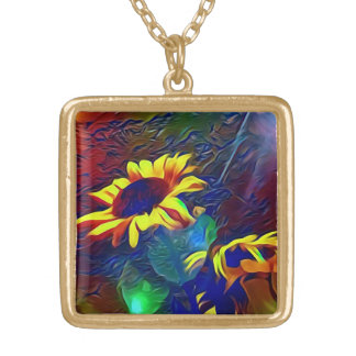 Pretty Vibrant Artistic Sunflowers Gold Plated Necklace