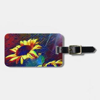 Pretty Vibrant Artistic Sunflowers Luggage Tag