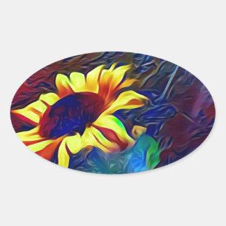 Pretty Vibrant Artistic Sunflowers Oval Sticker
