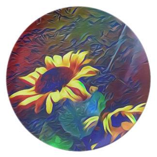 Pretty Vibrant Artistic Sunflowers Plate