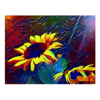 Pretty Vibrant Artistic Sunflowers Postcard
