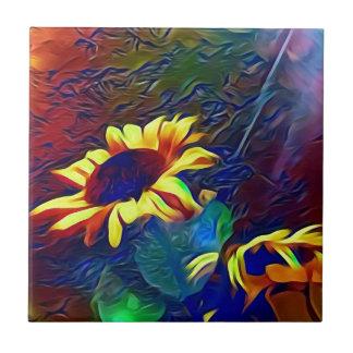 Pretty Vibrant Artistic Sunflowers Tile