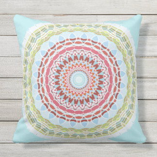 Pretty Vibrant Colourful Mandala Double Sided Outdoor Cushion