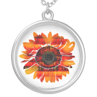 Pretty Vibrant Fiery Sunflower Round Pendant Necklace