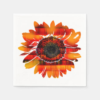 Pretty Vibrant Fiery Sunflower Paper Napkins
