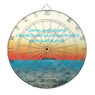 Pretty Vibrant Oceanscape Wisdom Quote Dartboard
