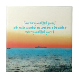 Pretty Vibrant Oceanscape Wisdom Quote Tile