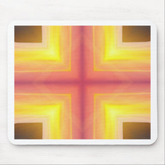 Pretty Vibrant Yellow Peach Cross shaped Pattern Mouse Pad