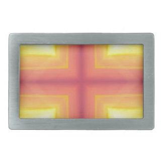 Pretty Vibrant Yellow Peach Cross shaped Pattern Rectangular Belt Buckles