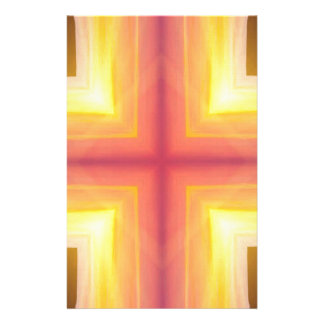 Pretty Vibrant Yellow Peach Cross shaped Pattern Stationery