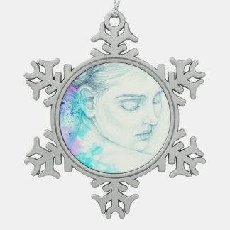 Pretty Victorian Lady In Blue Snowflake Pewter Christmas Ornament