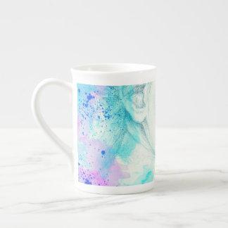 Pretty Victorian Lady In Blue Tea Cup