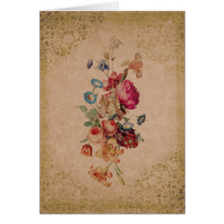 Pretty Victorian Vintage Rose Floral Greeting Card
