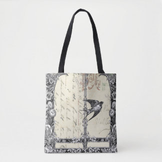 Pretty Victorian Vintage Style Bird Tote Bag