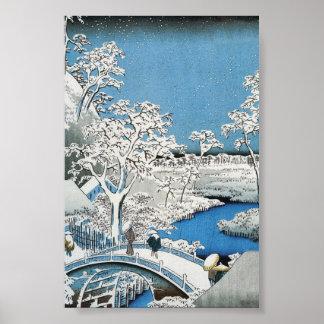 Pretty Vintage Asian Winter Scene Snow Bridge Poster